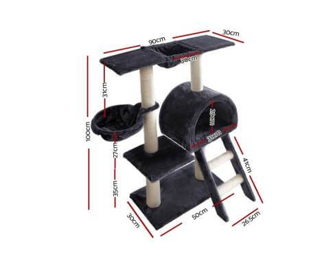 i.Pet 100cm Multi Level Cat Scratching Post - Dark Grey Dimensions