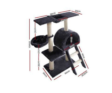 Image of i.Pet 100cm Multi Level Cat Scratching Post - Dark Grey Dimensions
