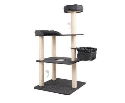 Image of i.Pet 132cm Multi Level Cat Scratching Tree Post - Grey