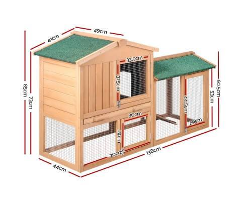 i.Pet 138cm Wide Wooden Pet Coop Dimensions