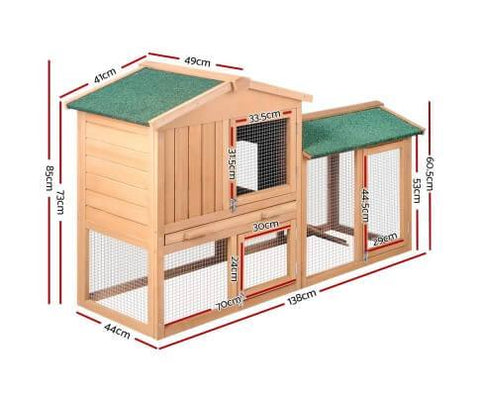 Image of i.Pet 138cm Wide Wooden Pet Coop Dimensions