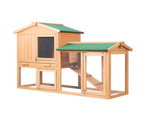 Image of Rabbit Hutch Chicken Coop Cage Guinea Pig Ferret House w/ 2 Storeys Run
