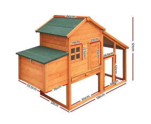 Image of i.Pet 171cm Wide Wooden Chicken Coop Dimensions