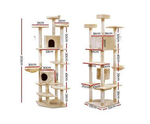 Image of i.Pet 203cm Cat Scratching Post - Beige Dimensions