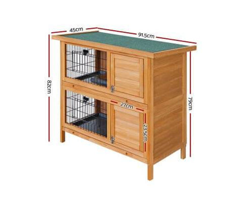 Image of i.Pet 2 Storey Wooden Rabbit Hutch Dimensions