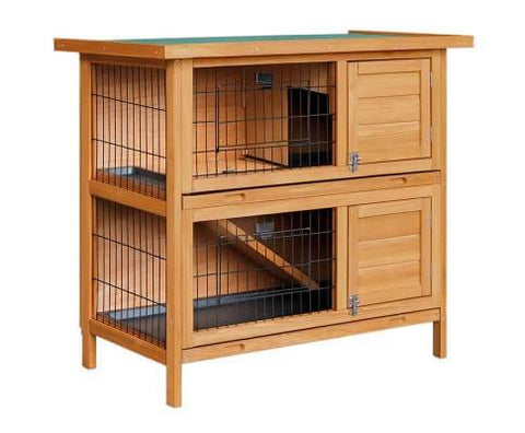 Image of i.Pet 2 Storey Wooden Rabbit Hutch