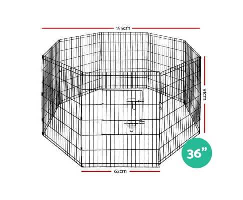 i.Pet 36 8 Panel Pet Dog Playpen Puppy Exercise Cage Enclosure Play Pen Fence Dimensions