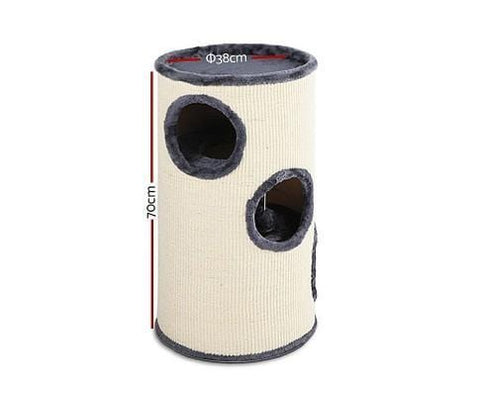 Image of i.Pet 70cm Cat Scratching Post - Grey & White Dimensions