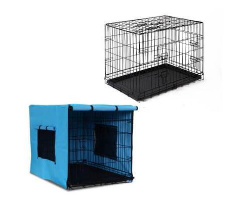 Image of i.Pet Collapsible Pet Cage with Cover - Black & Blue Everyday Pets