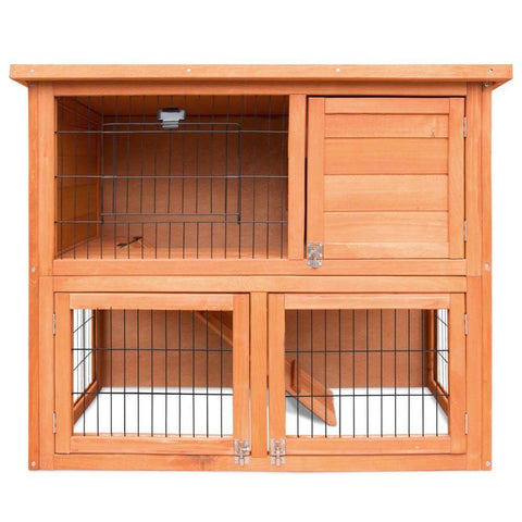 Image of i.Pet Double Storey Rabbit Hutch Front View