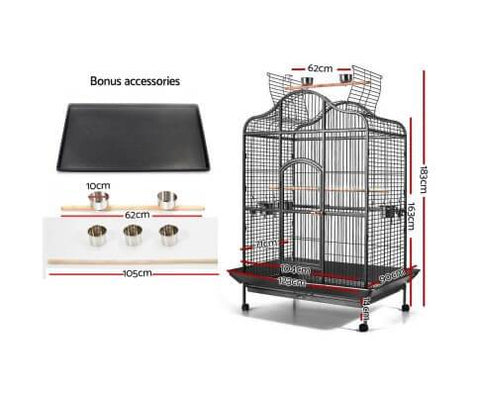 Image of i.Pet Extra Large Bird Cage with Perch - Black Dimensions