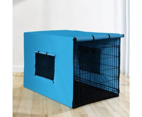 i.Pet Foldable Metal Dog Cage with Cover Blue