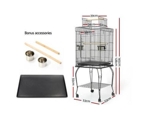 Image of i.Pet Large Bird Cage With Perch - Black Dimensions