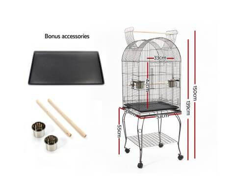 i.Pet Large Bird Cage with Perch - Black Dimensions