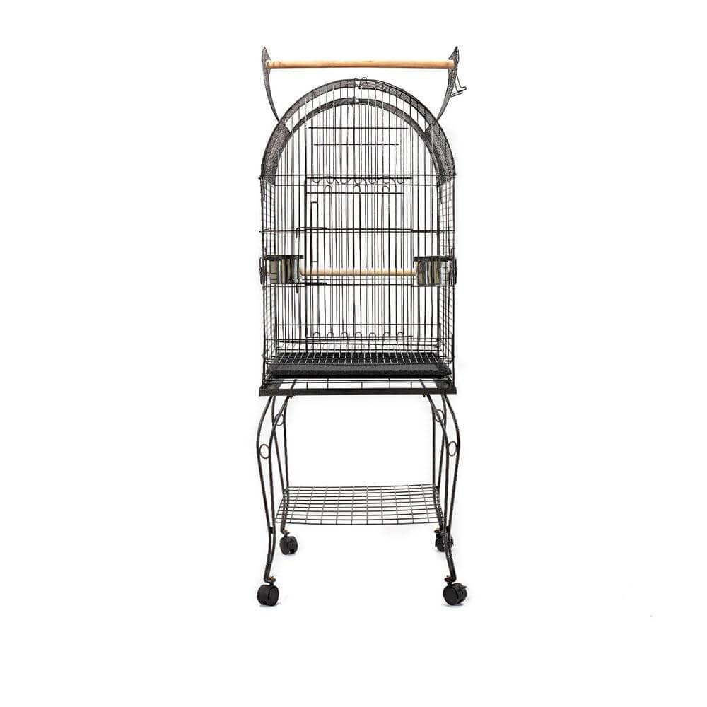 i.Pet Large Bird Cage with Perch - Black Side View