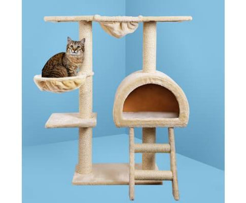 Image of i.Pet Multi Level Cat Scratching Post 100 x 50 x 30cm Beige