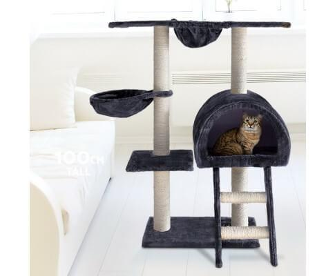 i.Pet Multi Level Cat Scratching Post 100 x 50 x 30cm Dark Grey