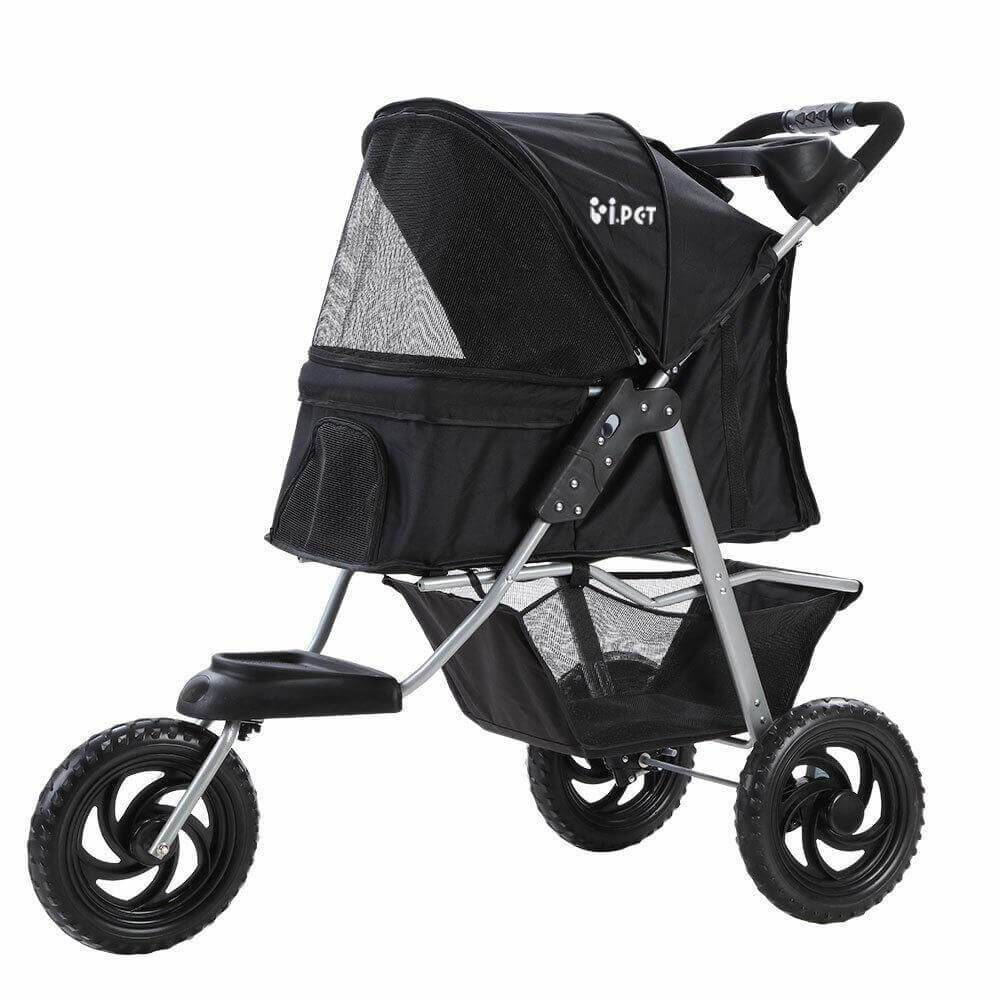 i.Pet Pet Stroller Dog Carrier Foldable Pram Large Black Everyday Pets