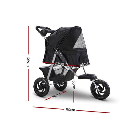 Image of i.Pet Travel Stroller Dog Carrier Foldable Pram Large Black Dimensions