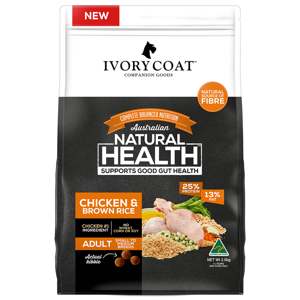 Ivory Coat Adult Dog Healthy Gut Chicken & Brown Rice Dry Dog Food 2.5kg Everyday Pets