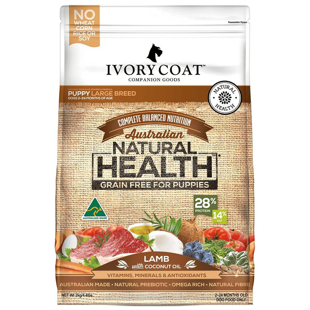 Ivory Coat Puppy Grain Free Dog food Large Breed Lamb 13kg Everyday Pets