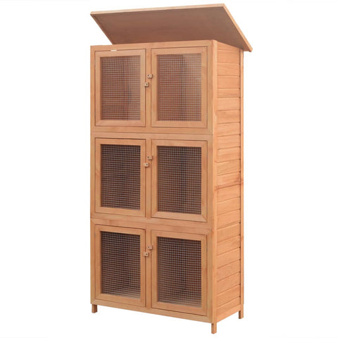 Image of Animal Rabbit Cage 6 Rooms Wood