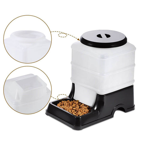 2 Auto Dog Cat Bird Rabbit Guinea Pigs Feeder & Water Dispenser Set - Black