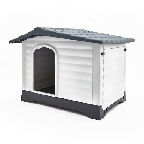 Image of Plastic Dog Kennel Molly Xxl - 111 X 84 X 80.5Cm - Grey
