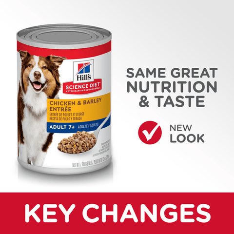 Image of Hill's Adult Trays 7+ Chicken & Barley Entree Cans Dog Food 12 x 370gm Everyday Pets