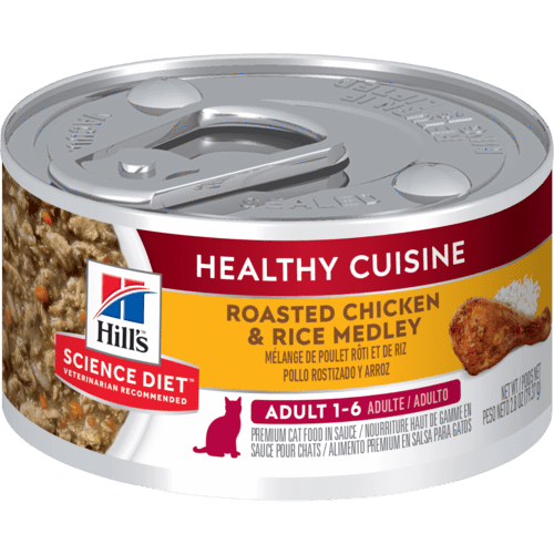 Hill's Science Diet Healthy Cuisine Roasted Chicken & Rice Medley Adult Cat Trays 24 x .079g Everyday Pets