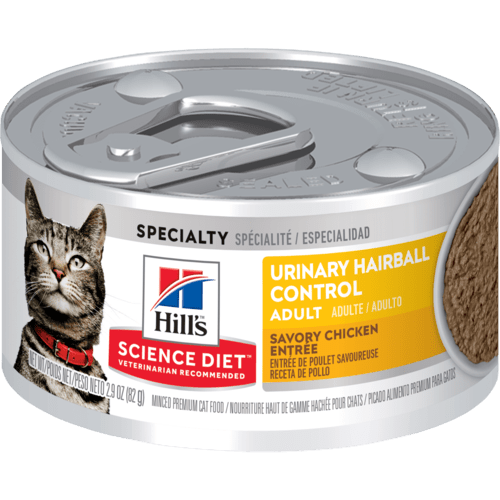 Hill's Urinary Hairball Control Adult Cat Food Tray 24 x .082gv Everyday Pets