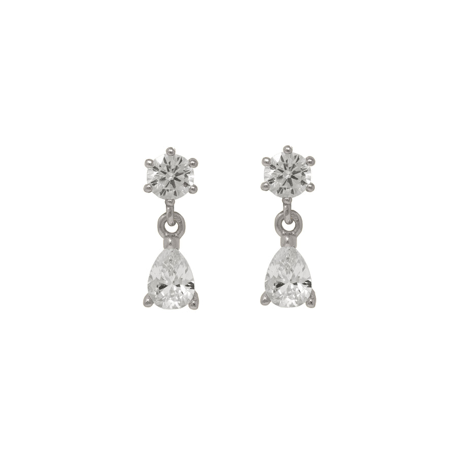 Mini dainty stud dangle earrings with zirconias by Vie en Bleu jewelry.