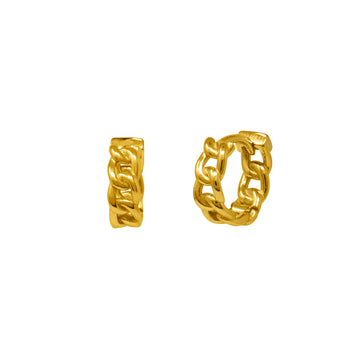Gold chain linked huggie earrings by vie en bleu jewelry.