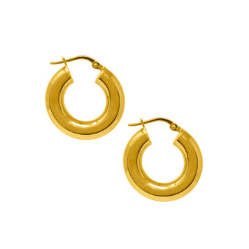 Statement chunky gold hoops earrings.