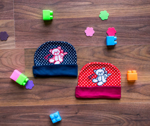 Round Bear cap with polka dot print