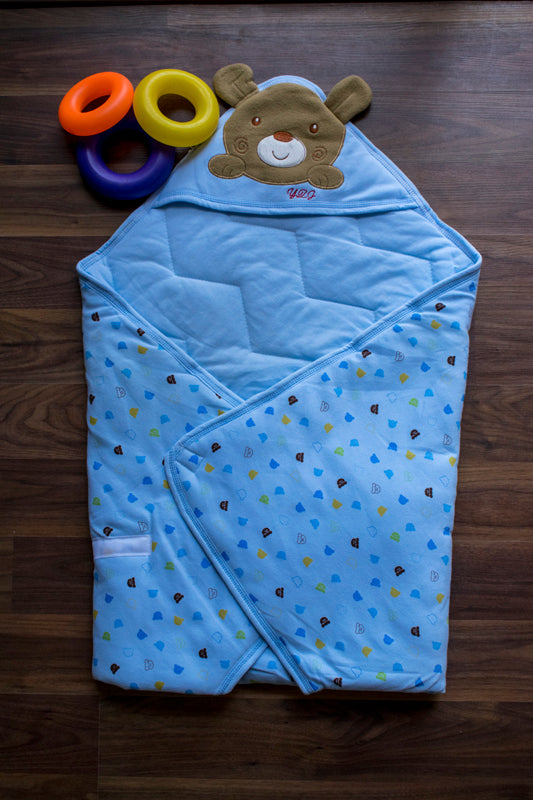 Brown teddy wrap for him n her-Blue