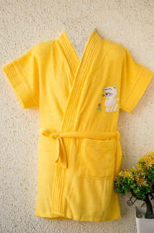 Yellow I am a bathrobe kid- for him n her
