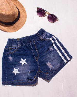 Star with Bold Stripes Denim Shorts