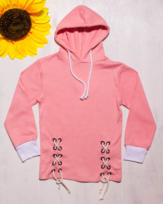 PINK WHITE CRISS CROSS SUMMER SWEATSHIRT