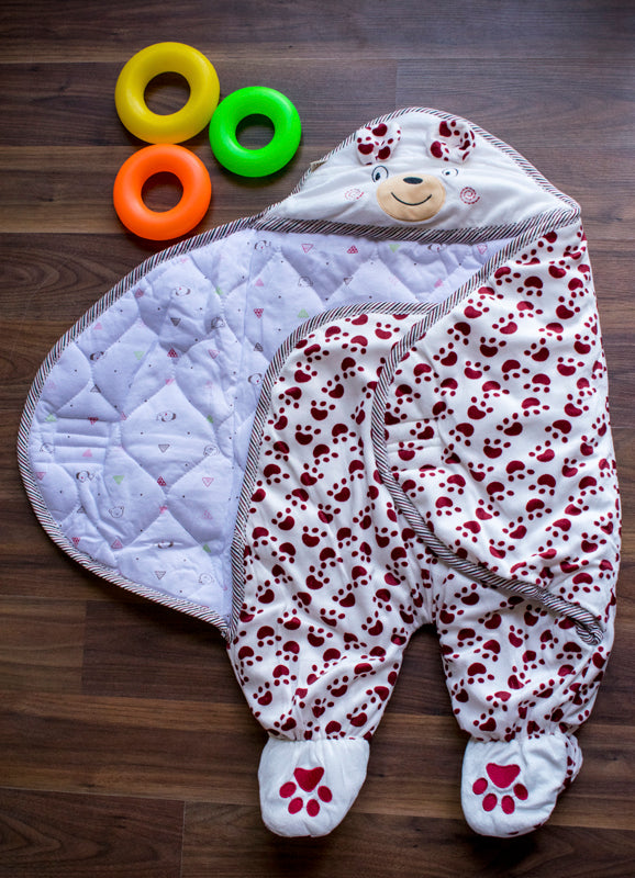 Cute paw stylish wrap for kids- red
