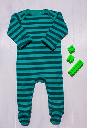 Black and Green Stripes Romper