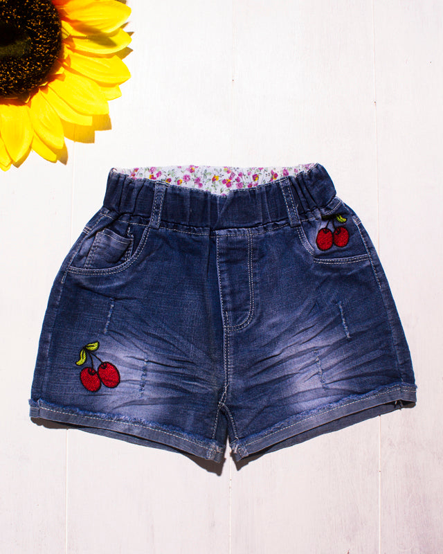 Cute Floral Denim Cherry Shorts
