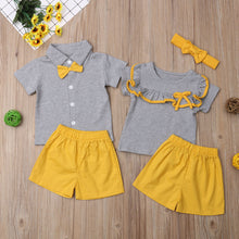 Load image into Gallery viewer, 2019 Brand New Toddler Kids Baby Girl Boy Sister Brother Sets Ruffles/Bowknot Short Sleeve Tops Shirt+Yellow Shorts 2Pcs Clothes