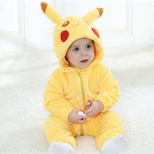 Load image into Gallery viewer, Pikachu Kigurumi Baby Onesie Anime Cosplay Costume Cute Infant Pajama Warm Soft Bodysuit Winter Home Wear Fancy