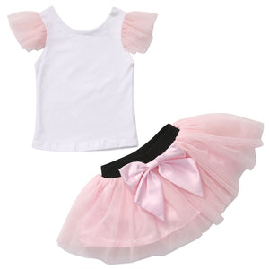 US Family Matching 2pcs Fashion Mother Daughter Women Kid Girls Summer T-shirt+Bow Tulle Skirt Outfits Summer Clothes Costume