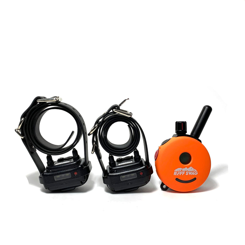 Orange Ruff Swag Face Plate on Mini Educator E-Collar. 1 Remotes 2 Collar System.
