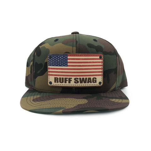 Camo American Flag Snap Back Hat