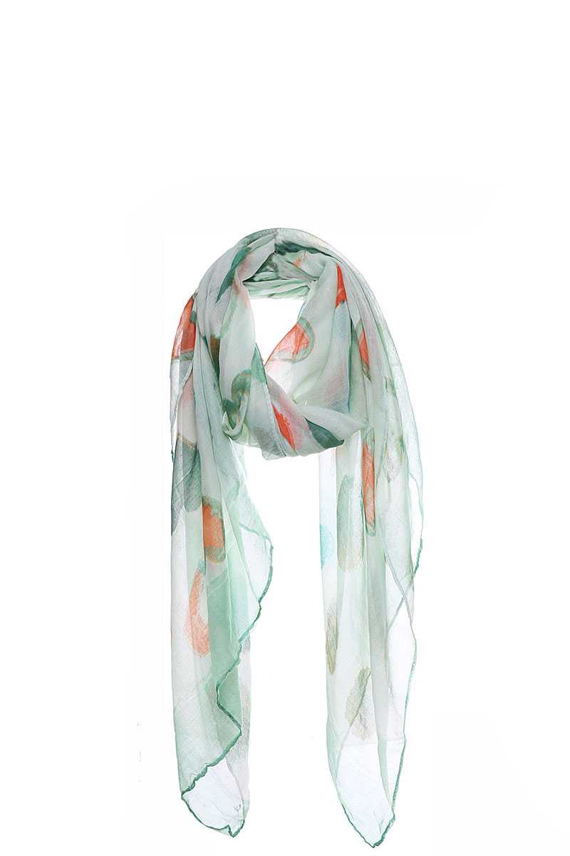 Soft Water Color Heart Print Scarf