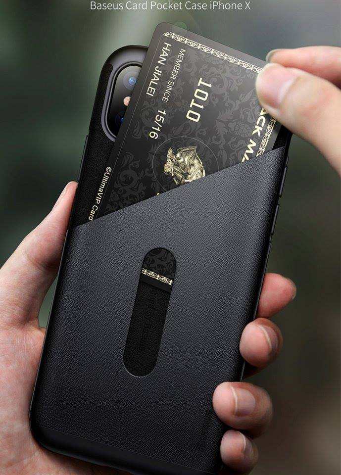 online store b885b a412a Baseus Card Holder Case For iPhone X