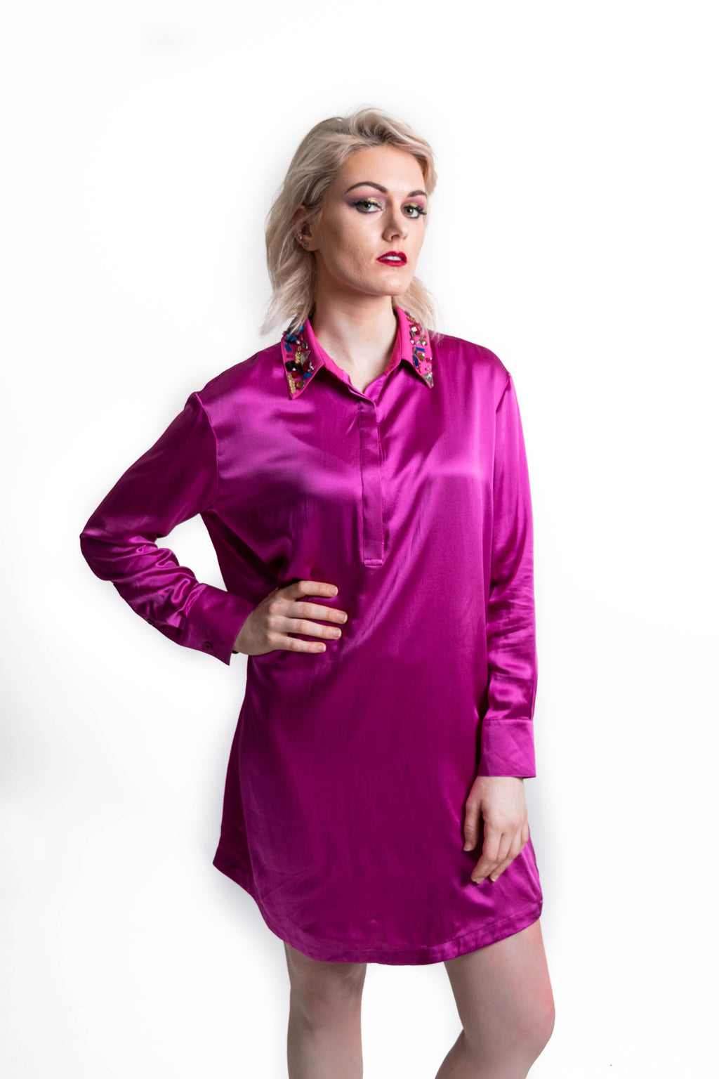 Pink Silk Shirt Stone Dress